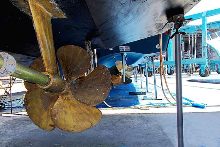 Image of yacht propellers under a yacht