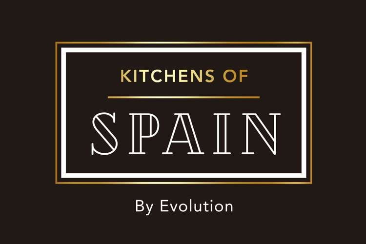 Text Kitchens of Spain by Evolution written in a white and golden text box on a black background.