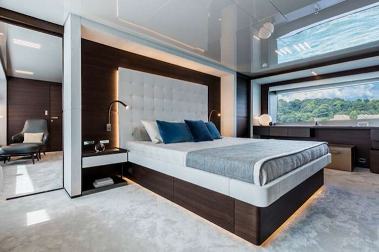 Master bedroom in a superyacht