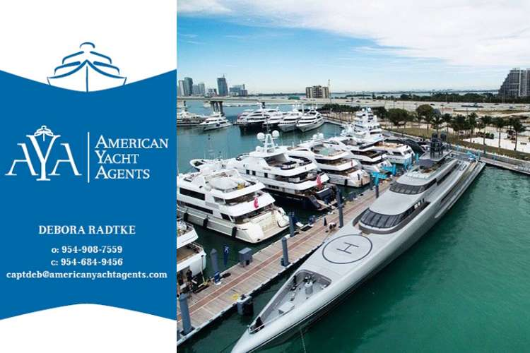 American yacht agents logo and contact details and image of a superyacht port on the right side