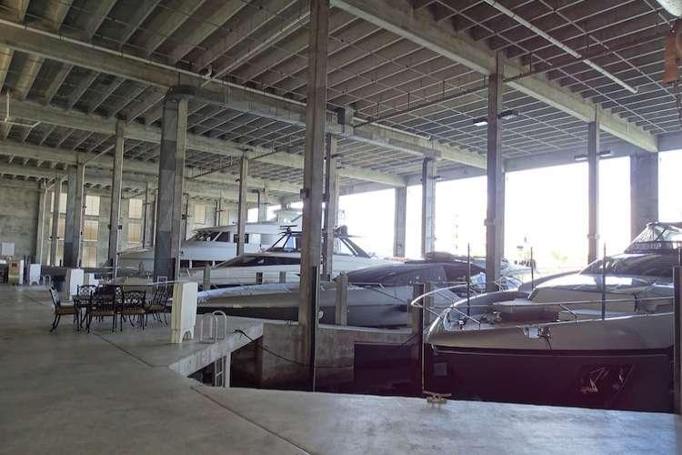 Interior of a boathouse facility hangar