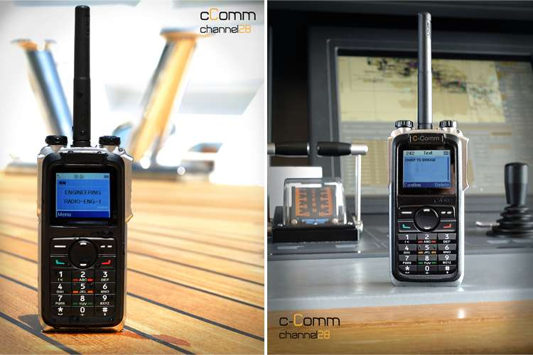 Two images of a handset crew radios, one on teak deck floor and second in front of a bridge display.
