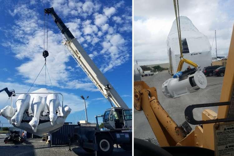 Lift lifting superyacht machinery
