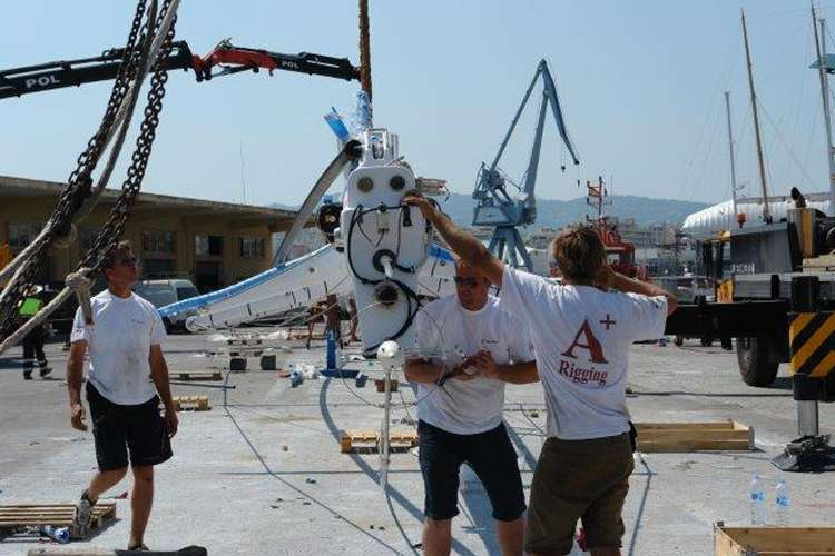 A+Rigging staff working in a shipyard.