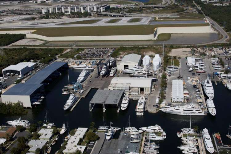 Aerial image of the Derecktor shipyard in Dania, Florida.