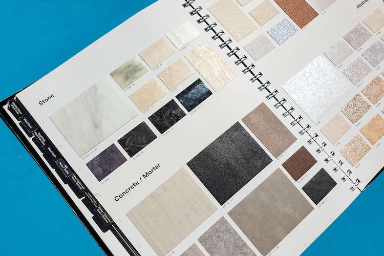Image of a catalogue of wrap film samples of concrete and mortar in different colours