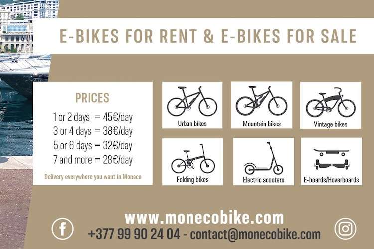 MonecoBike price list and different available bike options