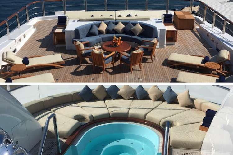 Superyacht deck before and after Proshield works