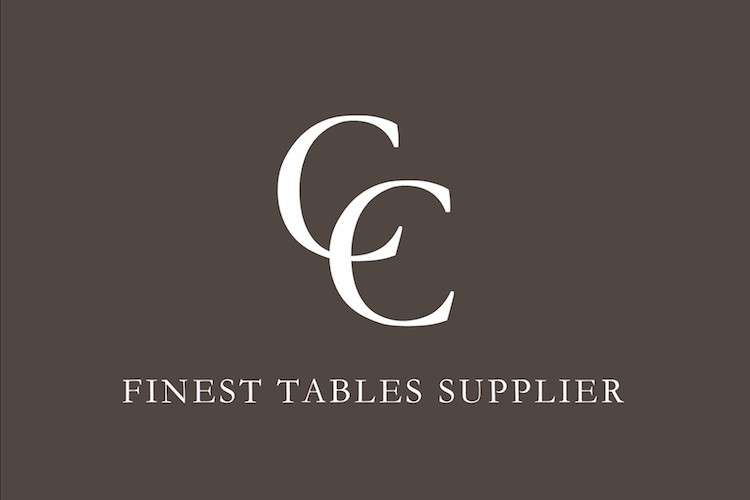 Company logo, letters CC, with white text Finest tables supplier below