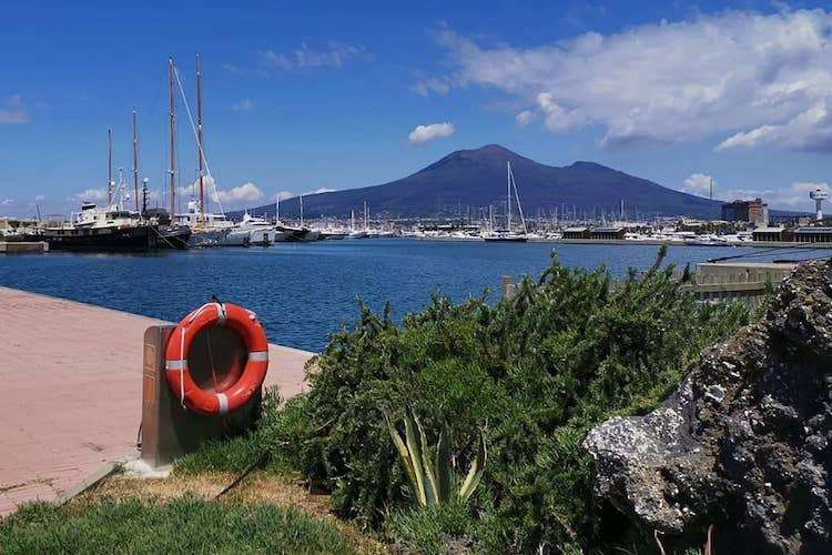 Port of Napoli with an island in the background