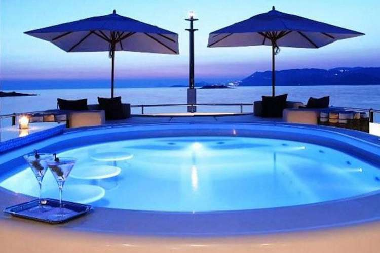 Swimming pool on a superyacht sundeck