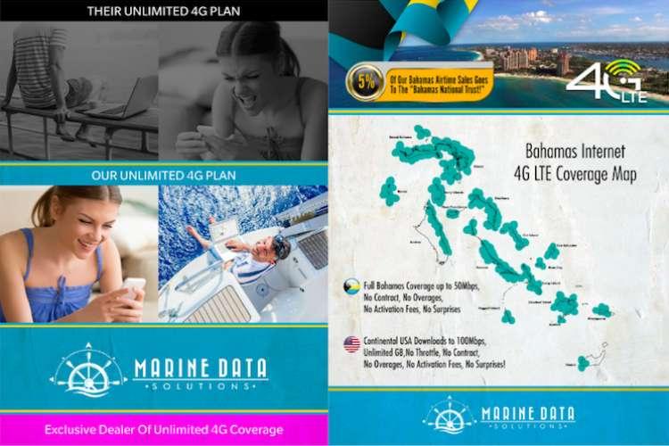 Marine Data Solutions Bahamas Internet 4G LTE Coverage map.