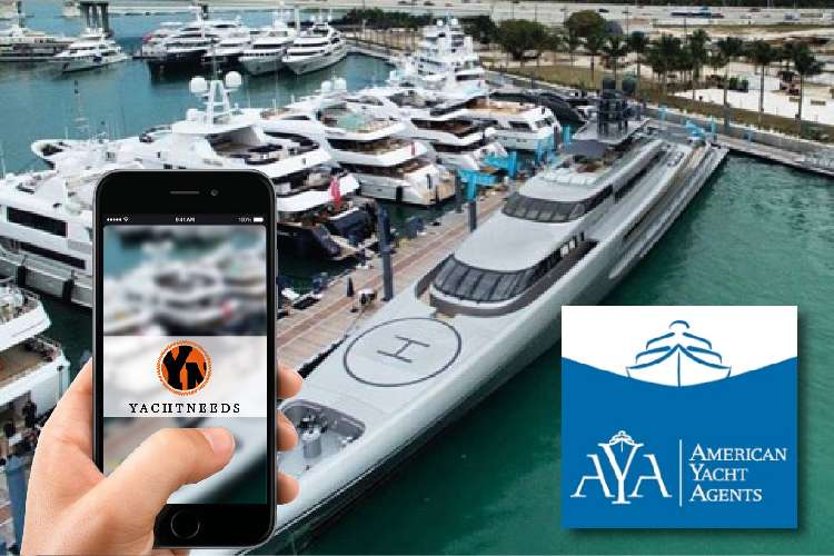 Image displaying AYA logo and a hand holding mobile with YACHTNEEDS app open.