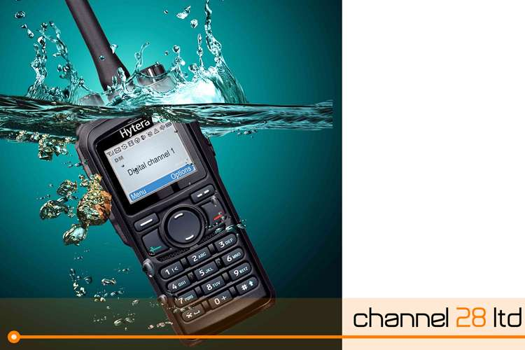 Image of a Crew Radio splashing into water with channel28 Ltd logo on the right side.