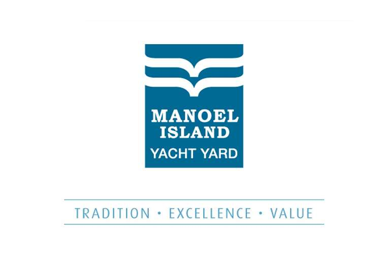 Blue Manoel Island Yacht Yard logo on a white background.