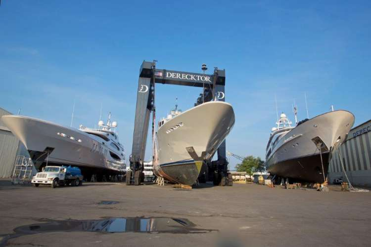 Three yachts dry docking on Derecktor shipyard.