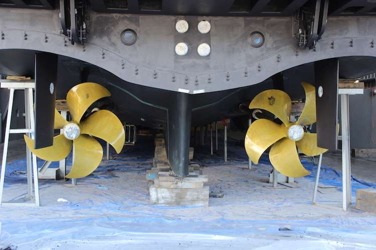 Two superyacht propellers
