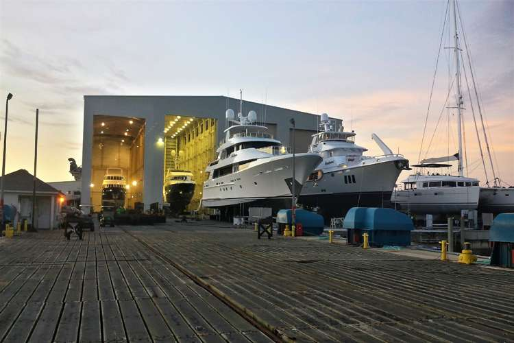 Superyachts dry docking at the Thunderbolt Marine shipyard