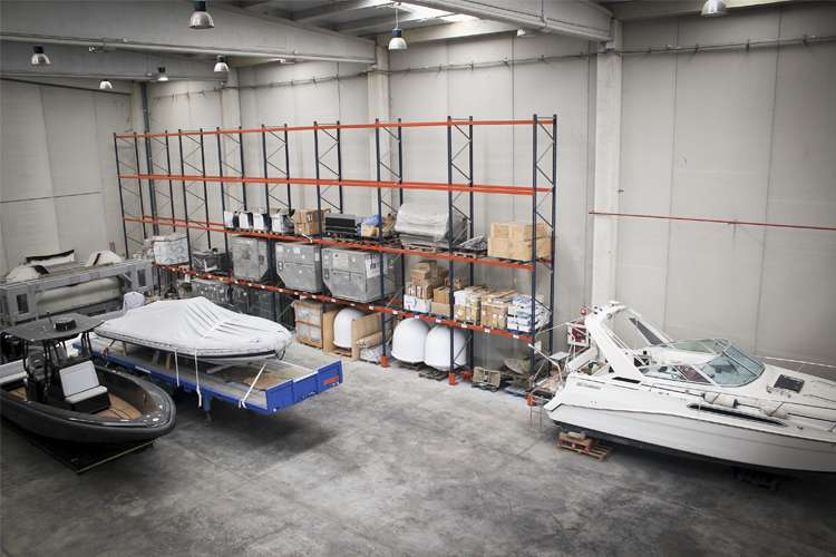 Evolution Yacht Agents boat hangar and storage space.