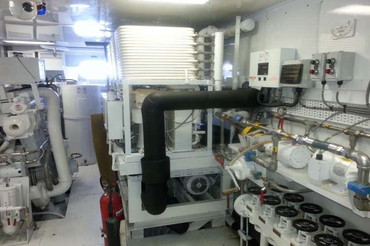 Image of a superyacht engine room supplied with Beard Marine equipment.