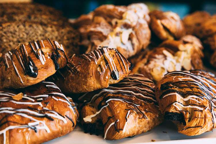 Freshly baked pastries with glazing on top.