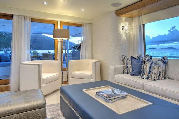 Superyacht living room with interior design by Karen Lynn.
