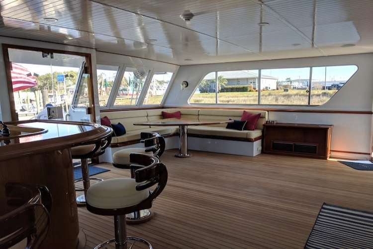 Bar and living room in a mega yacht