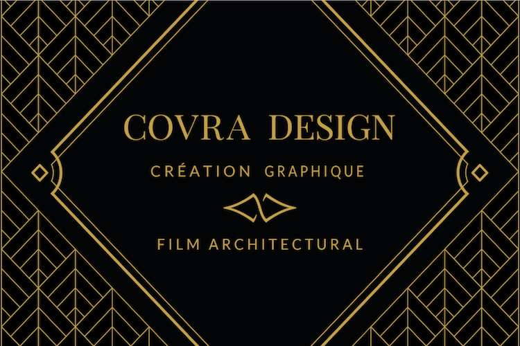 Covra Design logo on a black background with text: graphic creating and architectural films