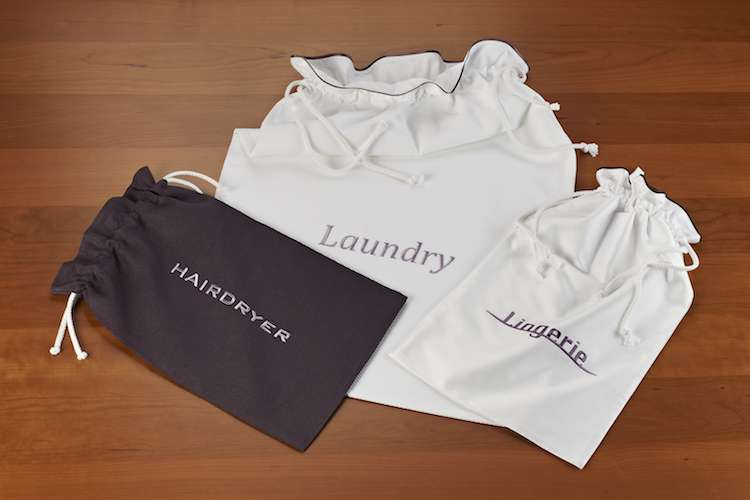 Accessories bags from Heirlooms for hairdryer, laundry and lingerie.