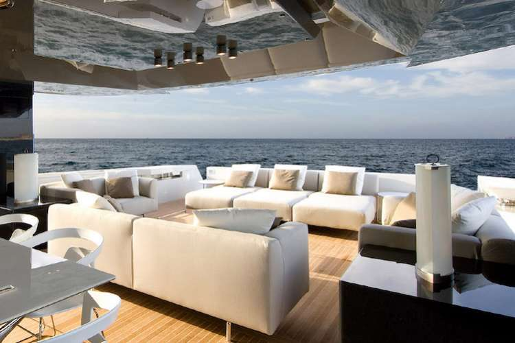 Image of a sun deck lounge area on a superyacht