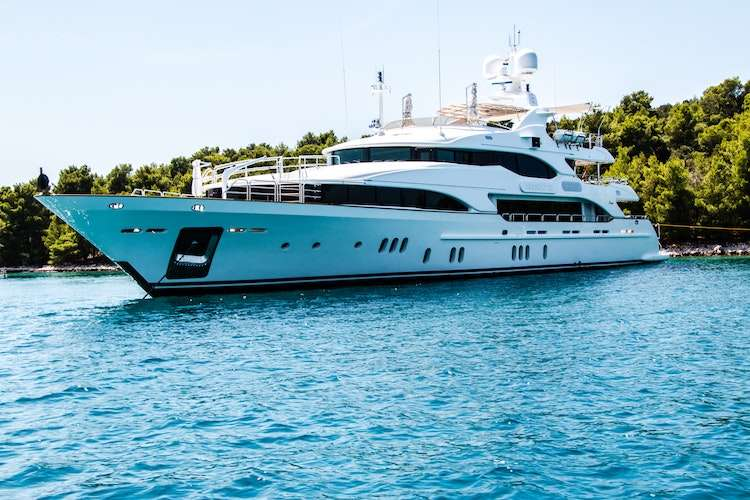 Superyacht anchored in a shore