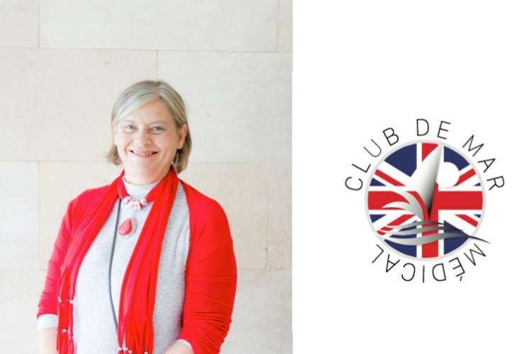 Dr. Johanna Clark smiling and standing on the left and Club de Mar Medical logo on the right.