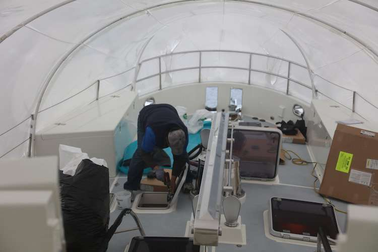 Yacht refit works on a deck