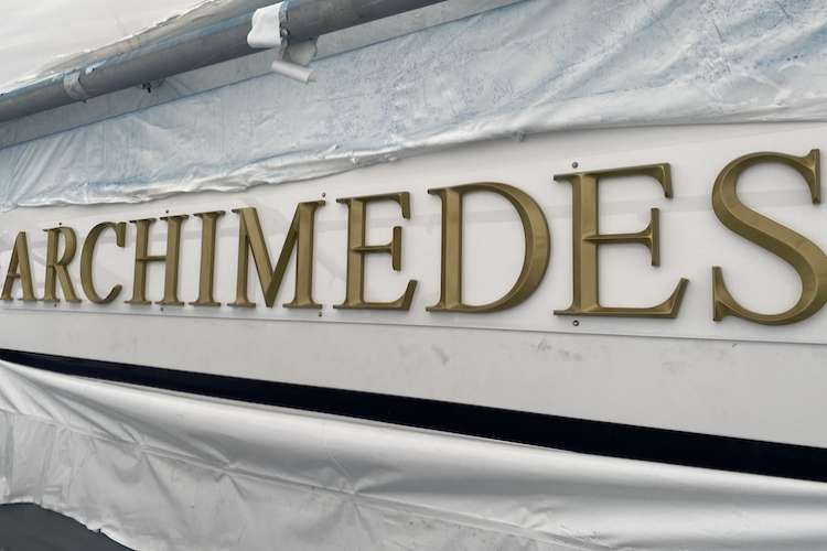 Close image of superyacht Archimedes yacht  lettering