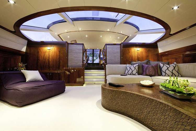 Superyacht living room in furnished by Universal Nautic