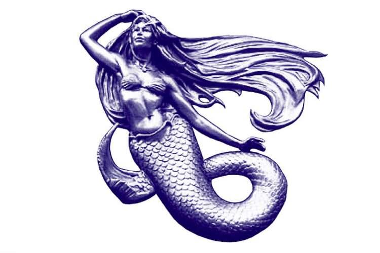 Yacht Decor logo, mermaid, on a white background