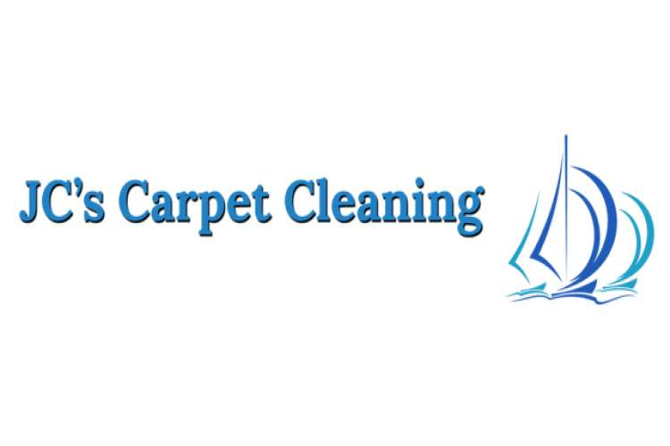 Blue JC's Carpet Cleaning logo on a white background.