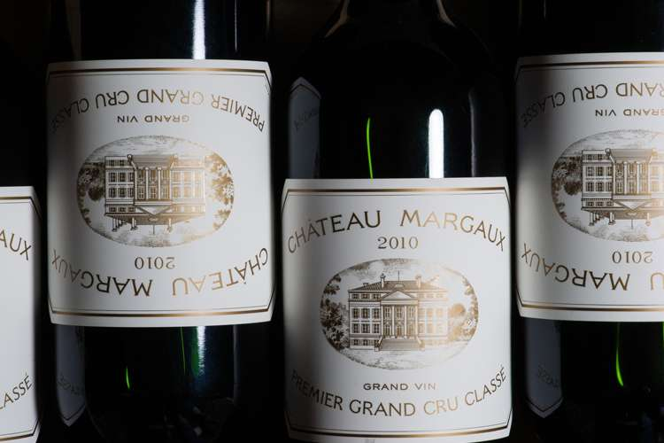 Four bottles of Chateau Margaux 2010 Premier Grand Cru Classe red wine.