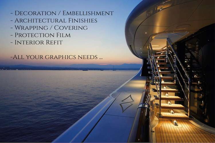 Image of a superyacht in the evening with text: decoration and embellishment, all your graphic needs