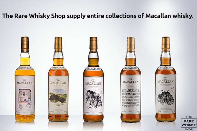 Macallan whisky bottles in a row