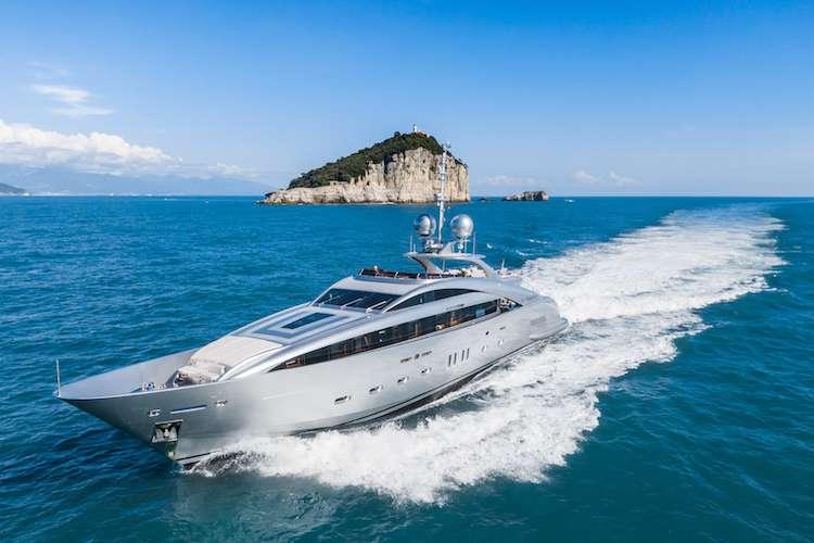 Superyacht cruising in the sea