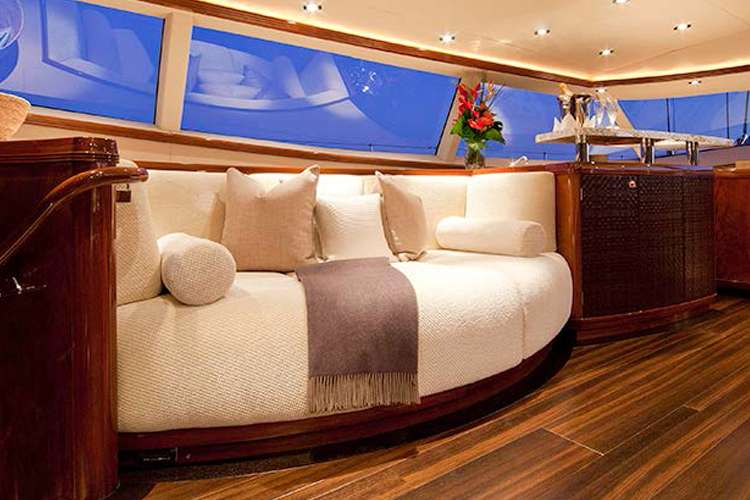 Luxurious sofa in a superyacht living room from Universal Nautic