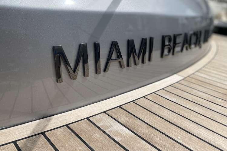 Close image of superyacht signage