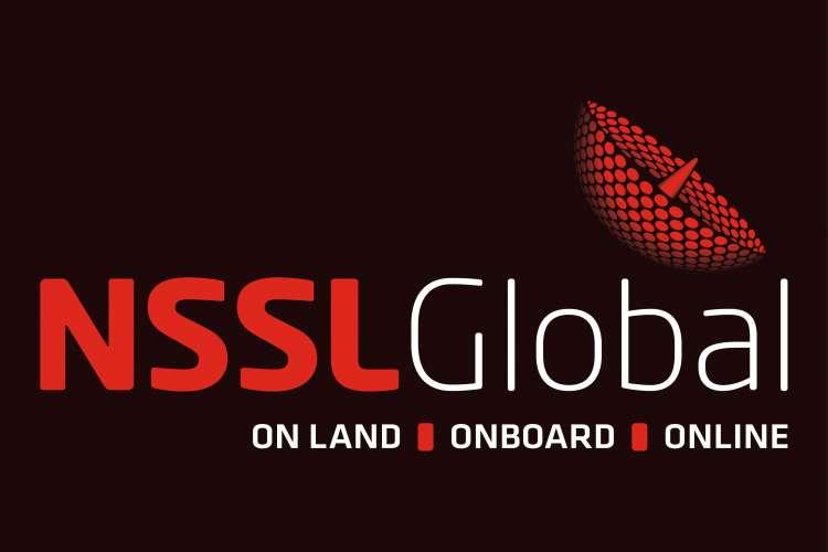 NSSL Global - On land, on board, online - logo on a black background.