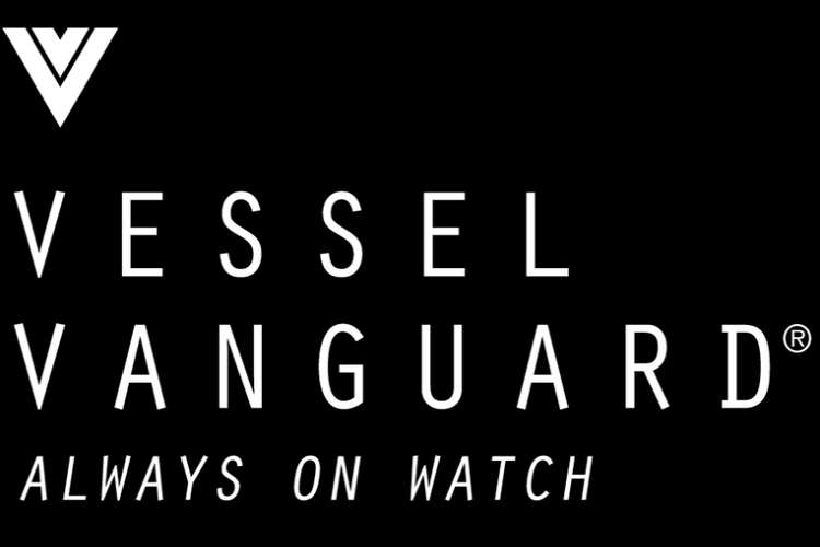 Vessel Vanguard - Always on watch - logo in white on a black background.