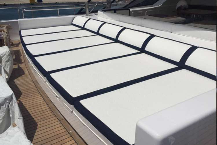 Sun chairs on a superyacht sun deck by Universal Nautic