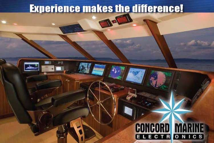 Image of a superyacht bridge with Concord Marine logo and text: Experience makes the difference!