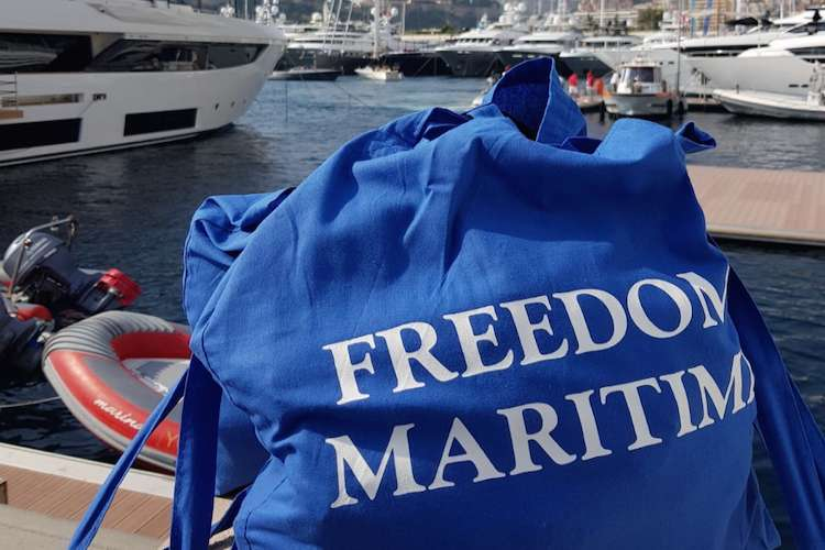 Freedom Maritime bag on a dock.