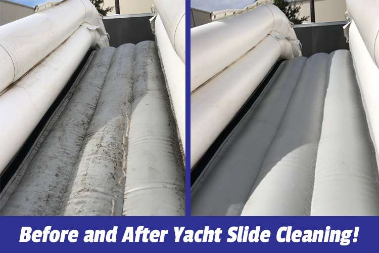 Before and after cleaning image of a yacht slide