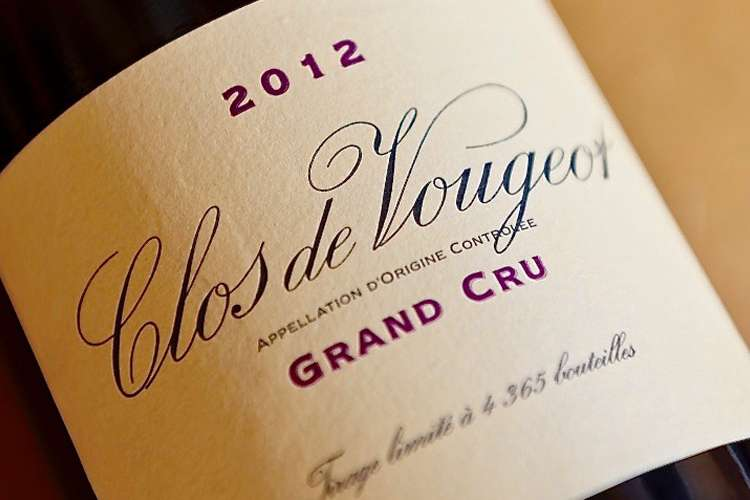 Clos de Vougeot Grand Cru Red Wine bottle from year 2012